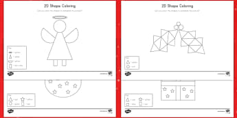 Christmas Color by 2D Shapes Activity Sheets - Christmas, color, coloring, shapes, 2D, math, art, worksheets