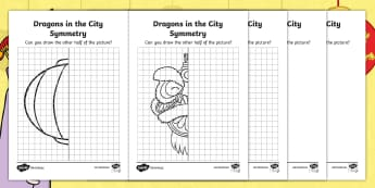 Dragons in the City Symmetry Activity Sheets - originals, Chinese New Year, line of symmetry, symmetrical, reflective, reflection, draw the other h