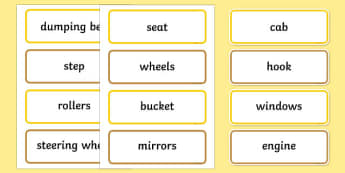 Building Site Construction Vehicles Parts Word Cards - building site, construction vehicles, parts, word cards