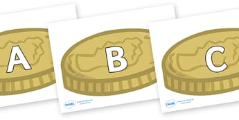 A-Z Alphabet on Coins - A-Z, A4, display, Alphabet frieze, Display letters, Letter posters, A-Z letters, Alphabet flashcards