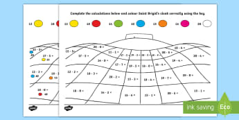 Saint Brigid's Day Subtraction Within 20 Activity Sheet - ROI St. Brigid's Day, Saint Brigid's Day, Subtraction within 20, Cloak
