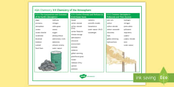 AQA Chemistry 5.9 Chemistry of the Atmosphere Word Mat - GCSE, AQA, Chemistry, atmosphere, composition, evolution, photosynthesis, fossil fuels, volcanic, vo