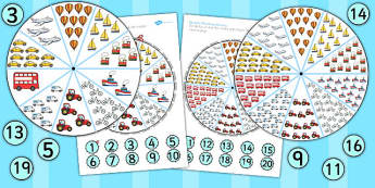 Up to 20 Number Matching Pegs Activity Transport - transport, matching