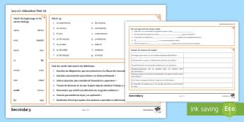 Education Post-16 Activity Mat Spanish - KS4, GCSE, Spanish, activity, mats, exercises, education, post, 16, school, college, university, stu