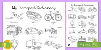 Ficha de actividad: Mi diccionario de los transportes - Inglés  - transport, english, inglés, lengua extranjera, colorear, vocabulario,Spanish-translation