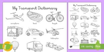 A1 Ficha de actividad: Mi diccionario de los transportes en inglés  - transport, english, inglés, lengua extranjera, colorear, vocabulario,Spanish-translation