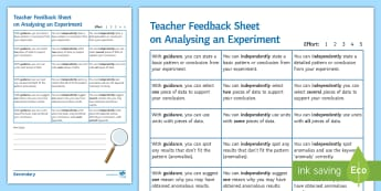 Analysing an Experiment Formative Assessment Sheet - Afl, assessment, science skills, analysing an experiment, analysis skills, practical skills