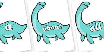 100 High Frequency Words on Pleseosaur Dinosaurs - High frequency words, hfw, DfES Letters and Sounds, Letters and Sounds, display words