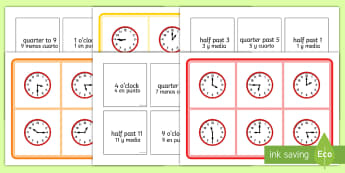 Mixed Time Bingo English/Spanish - Mixed Time Bingo - Mixed time bingo, time game, Time resource, Time vocaulary, clock face, Oclock, h
