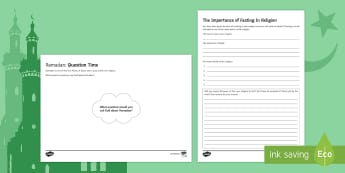 Ramadan: Fasting in Religion Worksheet / Activity Sheets - Secondary - RE - Islam KS3, religion, religious fasting, non-religious fasting, commitment, food, hu