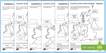 Countries of the United Kingdom and Surrounding Seas Labelling Activity Sheet - countries, uk, united kingdom, britain, seas, sea, label, labels, labelling, activity