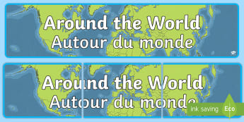 Around the World  Display Banner English/French - Display, travel, earth, plane, EAL French