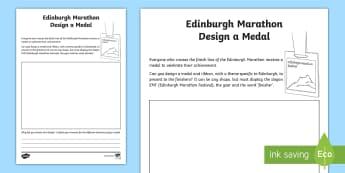 Edinburgh Marathon Design a Finishers Medal Activity Sheet - CfE Edinburgh Marathon (27th of May), medal, design, Worksheet, creative, design brief, EMF, running