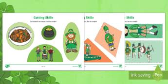 St Patrick's Day Cutting Skills Activity Sheets - st patrick's day, cutting skills, March 17th 2017, ireland, st patrick day