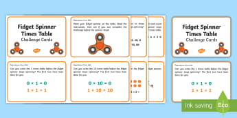 Fidget Spinner Times Tables KS1 Challenge Cards - Mathematics, Maths, Multiplication , Number, Play, Timed