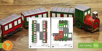 Modelo de papel: Tren de Navidad 3D - Navidad, modelo de papel, tren, navidad, español, spanish