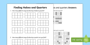 Finding halves and quarters Activity Sheet, worksheet