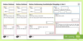 Matiau Mathemateg Gweithdrefnol Blwyddyn 6 Mat 2 - Procedural, matiau her, Matiau Her Mathemateg, Gwahaniaethol, Gweithredol, year 4, year 5, year 6, b