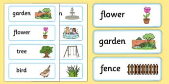 Garden Word Cards - garden, word cards, word, cards, yard, back garden