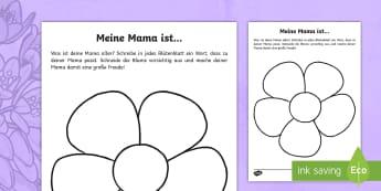 Meine Mama ist... Schreibvorlage - Muttertag, Geschenk, Schreiben, mother's day, present, writing,German