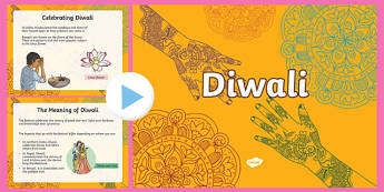 How Is Diwali Celebrated? PowerPoint - Diwali, religion, hindu, hanoman, rangoli, sita, ravana, pooja thali, rama, lakshmi, golden deer, diva lamp, sweets, new year, mendhi, fireworks, party, food