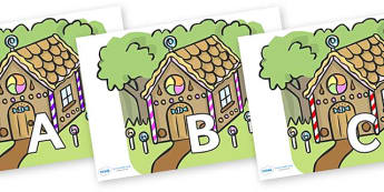 A-Z Alphabet on Gingerbread House - A-Z, A4, display, Alphabet frieze, Display letters, Letter posters, A-Z letters, Alphabet flashcards
