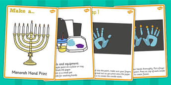 Menorah Hand Prints Craft Instructions - menorah, hand print