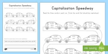 Capitalization Speedway Activity Sheet - English, Language, Capitalize, capital letters, Proper Nouns