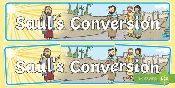 Saul's Conversion Display Banner - usa, america, banners, displays, visual, conversion, saul, bible stories, road to damascus