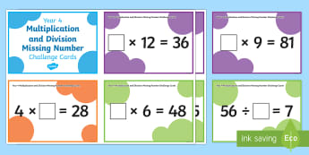 Year 5 Multiplication and Division Missing number Challenge Cards - 2x, 3x, 4x, 5x, 8x, 11x, 12, 9x, times tables, multiplication tables, times, chalenge, maths, numera