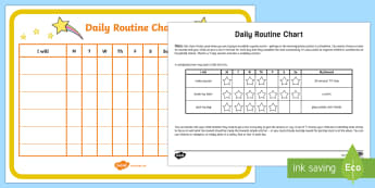 Daily Chores Chart Parent and Carer Information Sheet -  routine, organisation, help, advice, support, behaviour, reward