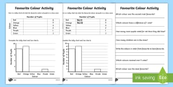 Favourite Colour Tally and Bar Chart Activity Sheets - tally chart worksheets, bar chart worksheets, bar charts, favourite colour worksheets, ks2 numeracy