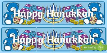 Happy Hanukkah Display Banner - Jewish Holiday, Hanukkah Celebration, Classroom Display, Bulletin Board, Holiday Celebration