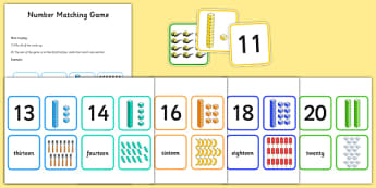 Number Matching Cards 11-20