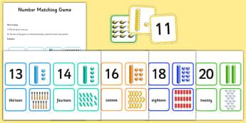 Number Matching Cards 11-20 - ESL Number Resources