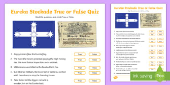 Eureka Stockade True or False Pop Quiz -  ACHASSK108, History, Gold Rush, charles hotham, james scobie, mine, mining,Australia