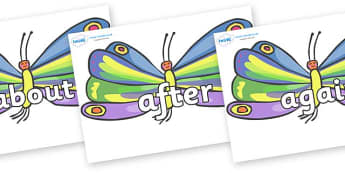 KS1 Keywords on Butterflies to Support Teaching on The Very Hungry Caterpillar - KS1, CLL, Communication language and literacy, Display, Key words, high frequency words, foundation stage literacy, DfES Letters and Sounds, Letters and Sounds, spelling