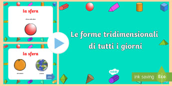 Le Forme Tridmensionali di Tutti i Giorni Presentazione Powerpoint  - 3D, forme, tridimensionali, powerpoint, presentazione, geometria, italiano, italian