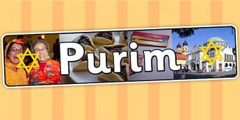 Purim Photo Display Banner - purim, hindu, RE, religion, banner