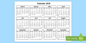 Minikalender 2018 für die Klassenraumgestaltung - Kalender, Neujahr, 2017/18, Jahresende, Jahreswechsel, Termine, Klassenarbeiten,,German