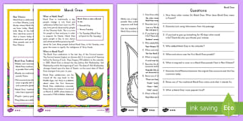 Mardi Gras Differentiated Reading Comprehension Activity - Mardi Gras, Fat Tuesday, Shrove Tuesday, Carnival, Masks, New Orleans, Parades, Traditions, KS1