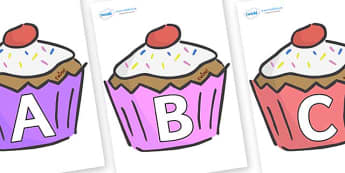 A-Z Alphabet on Cupcakes - A-Z, A4, display, Alphabet frieze, Display letters, Letter posters, A-Z letters, Alphabet flashcards