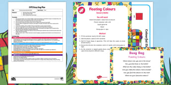 EYFS Floating Colours Busy Bag Plan and Resource Pack - Elmer, David McKee, colour, sensory, calming, discovery bottle, science
