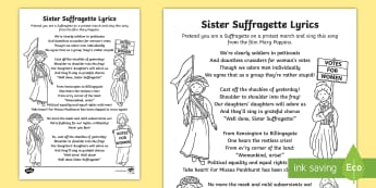 Sister Suffragette Song Lyrics Sheet - womens rights, history, music