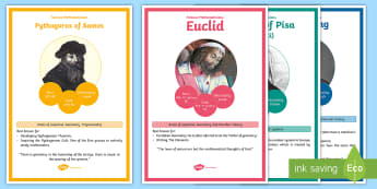 Famous Mathematicians Display Facts Posters - Home Education Maths Resources, Pythagoras, Gauss, Ada Lovelace, Euler, Turing, Fibonacci, Euclid, N
