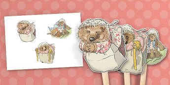 The Tale of Mrs Tiggy Winkle Stick Puppets - mrs tiggy winkle, stick puppets