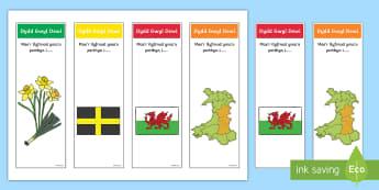 Llyfrnodau Dewi Sant - darllen, reading, Cennin Pedr, cennin, daffodil, leek, Cymru, Wales, Welsh, Cymraeg, cardiau, cards,