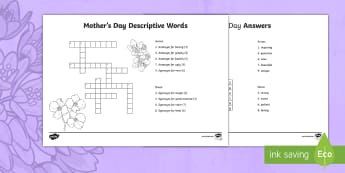 Mother's Day Descriptive Words Crossword - Canada Mother\'s Day 14th May, antonyms, synonyms, Junior Grades, Grade 4, Grade 5, Grade 6, Langu