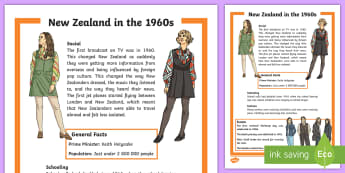 New Zealand in the 60s Fact Sheet - New Zealand, 60s, clothing, Aotearoa, decades