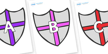 A-Z Alphabet on Shields - A-Z, A4, display, Alphabet frieze, Display letters, Letter posters, A-Z letters, Alphabet flashcards